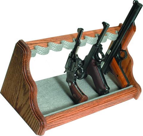 Oak Pistol Rack - Silver Velour