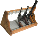 8-Gun Oak Pistol Rack Shelf, Beige Pin-Dot Velour